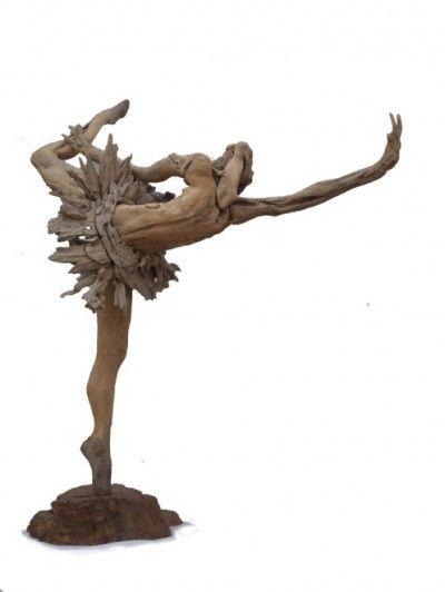 South Africa's Tony Fredricksson creates driftwood sculptures: ballerina