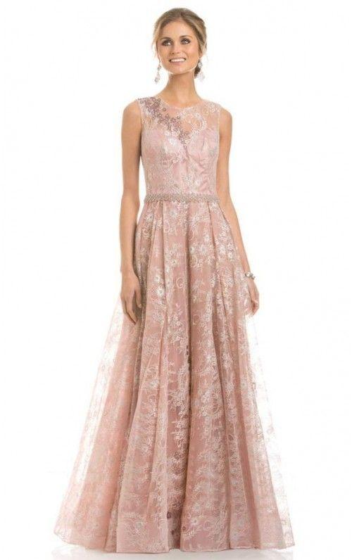 Tailored A-line Floor-length Lace Sleeveless Evening Dress