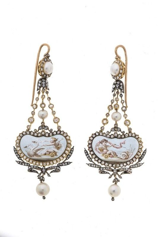 A pair of antique gold, porcelain and  pearl earrings, French, 1879-1900. 6 x 2.6cm. #antique #earrings