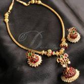 Beautiful Unique Jhumka Pendant Temple Necklace Set-dj0405