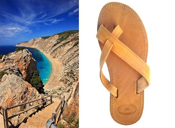 Flat Leather Sandal Beach Sandles Leather Flipflops by OhSoGreek