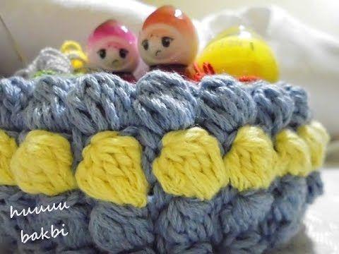 crochet popcorn basket,crochet bobble stitch,popcorn sepet ,tığ işi sepet yapımı