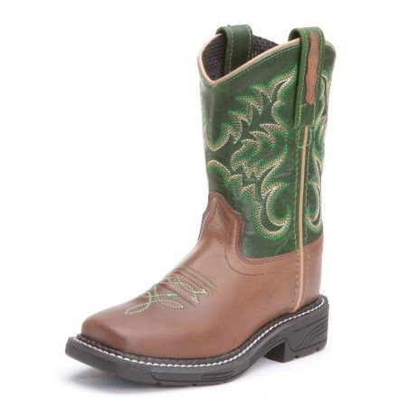 Old West Kids Boy Square Toe Cowboy Boots Green & Brown