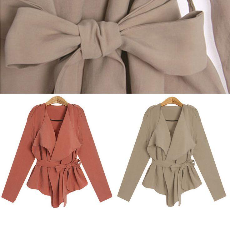 Women鈥檚 V-neck Simple Belt Decorated Chiffon Summer Coat