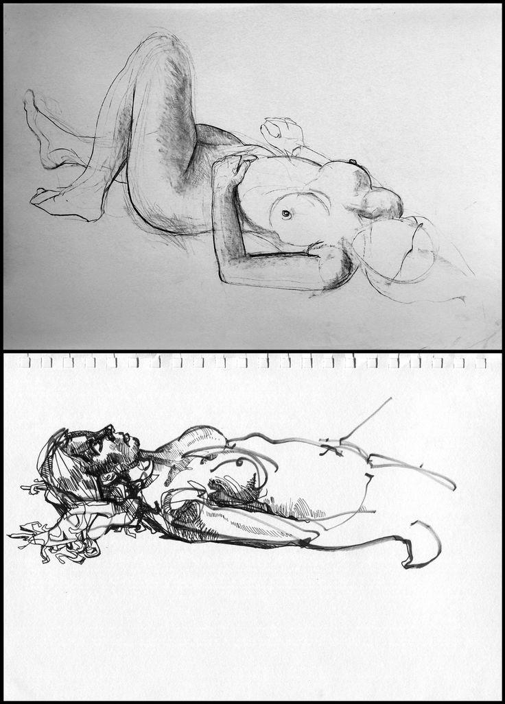 Szkice postaci, rok 2007. #art #nude #girl #drawing
