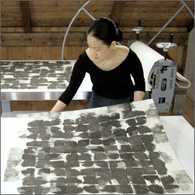 Eunice Kim is a Korean printmaking artist that works with safer, non-toxic techniques in her collagraphes.