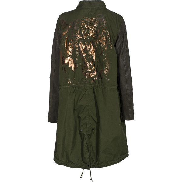 CAMOUFLAGE COUTURE STORK M 65 Vintage Military Green Bronze Tiger Army... (€569) ❤ liked on Polyvore featuring outerwear, coats, green parka coat, olive green parka, vintage coats, army green parkas and green military coat