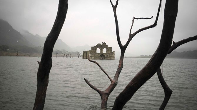 Colonial-era church surfaces as drought lowers water level in southern Mexico reservoir. http://www.foxnews.com/world/2015/10/16/colonial-era-church-surfaces-as-drought-lowers-water-level-in-southern-mexico/
