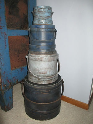 Stack of 4 Old Blue Painted Firkin-Sugar Bucket-Graduated Sizes
