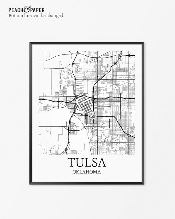 Tulsa Map Art Print Tulsa Poster Map of Tulsa by PeachandPaper