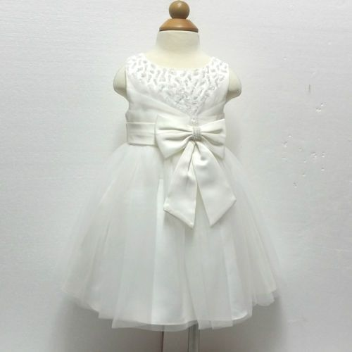 Ivory-Infant-Baby-Communion-Wedding-Party-Flower-Girls-Dresses-AGE-0-to-18Month