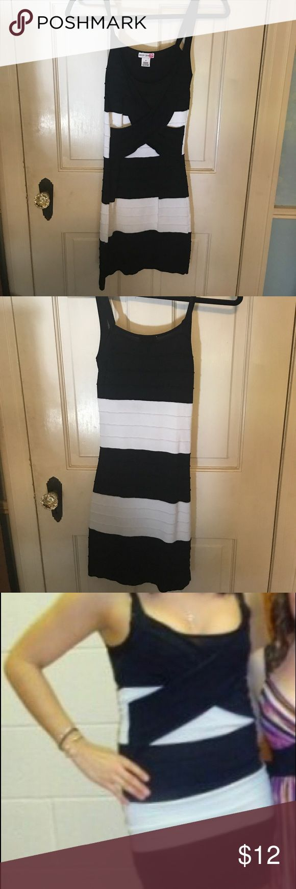 Black and white, bodycon dress Black and white, bodycon dress with a cross front detail Body Central Dresses Mini