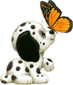 Lindo alfabeto de peque�os perritos con mariposa.