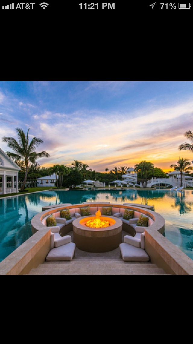 Pool Dream House Florida Firepit Homes Pools Celine Dion S Fire
