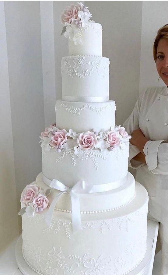 Die schicke Technik: Zarte weiße Hochzeitstorte mit zarten rosa Rosenakzenten. – #Die Höhe …   – Cake Decorating Writing Ideen