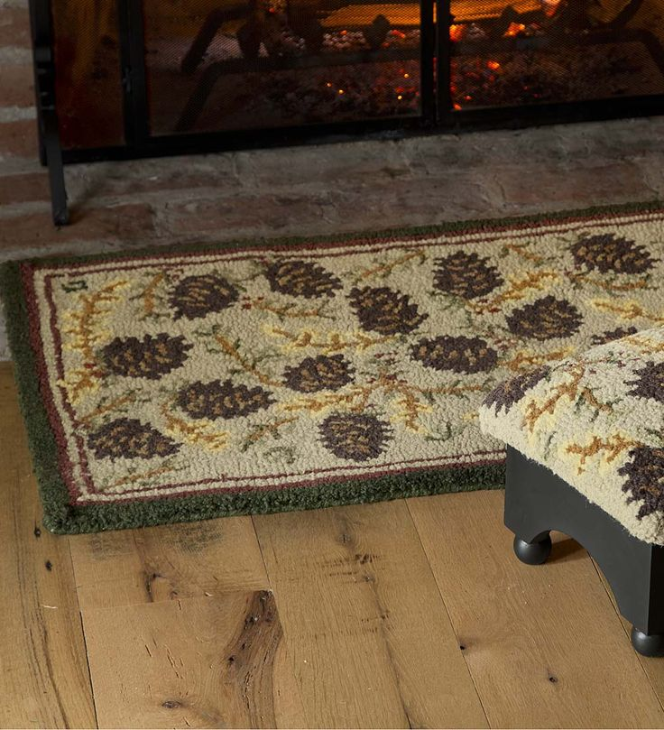 wool pine cone hearth rug with border 2u0027 x 4u0027 accent rugs - Hearth Rug