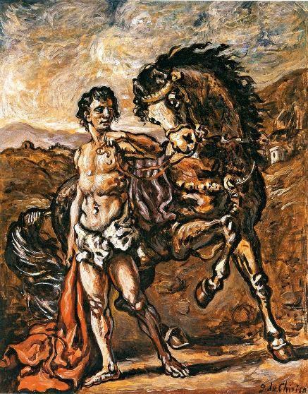 De Chirico, Ippolito con il suo cavallo preferito sui monti dell'Isola di Creta, 1955