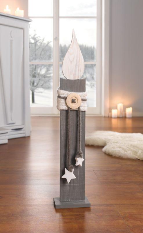 Deko-Säule Kerze 57 cm Holzkerze Holzsäule weiß…
