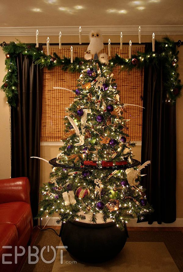 Harry Potter Christmas tree. Ok, how can I get my train in the middle of the tree.......