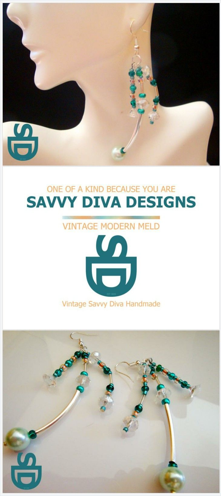 Savvy Diva Designs Purple Bead Earrings One of a Kind Purple Bead Dangle Earrings
