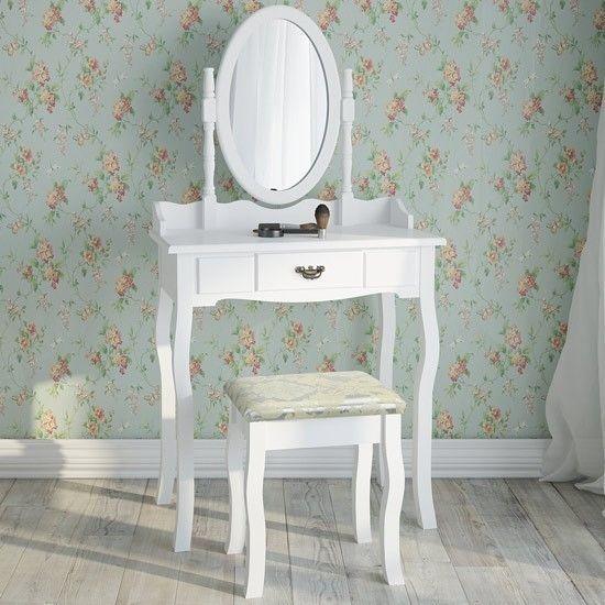 Details About White Dressing Table Stool Vanity Bedroom Girl Furniture  Vintage Mirror Drawer