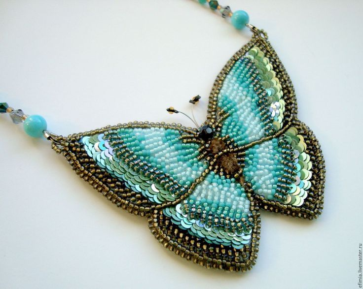 """Купить Колье """"Бабочка"""" - морская волна, колье ручной работы, авторская ручная работа"""