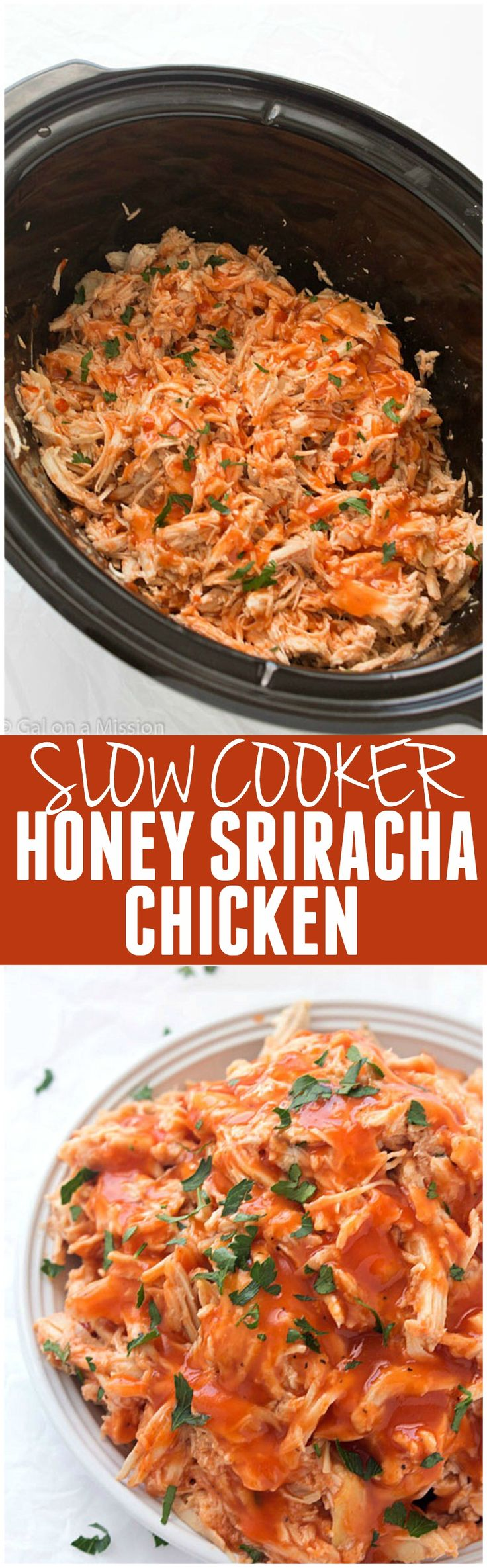 This Slow Cooker Honey Sriracha Chicken is an awesome balance of sweet and spice and the flavor is out of this world!