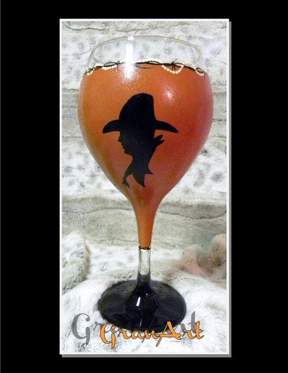 Cowboy Up Wine Glass Western Cowboy Silhouette Cowboy by GranArt