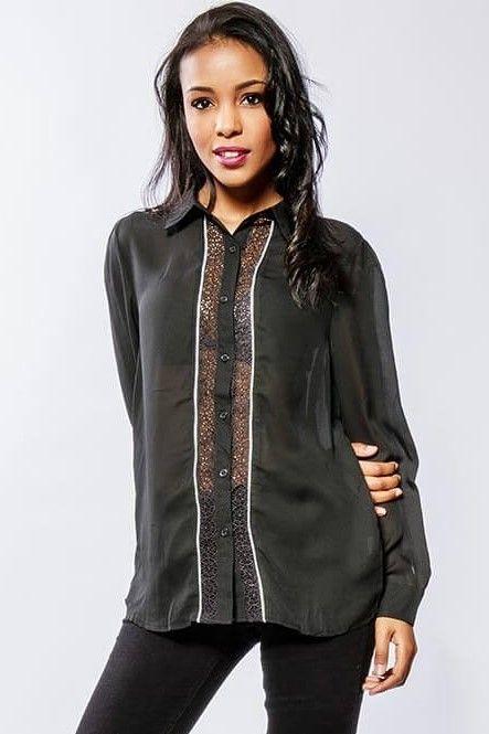 f38dc6e83385 Dámska čierna košeľa s krajkou