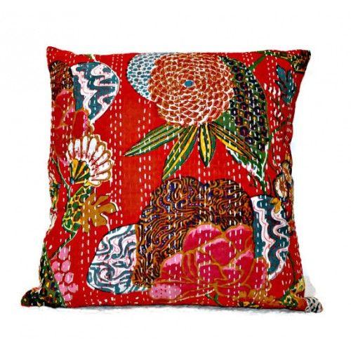 Red Kantha Pillow