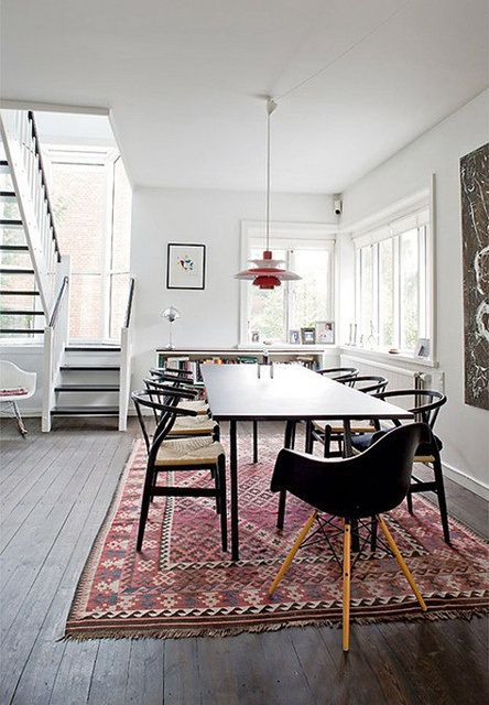 dining /// wishbone chairs / dark hues / persian carpet