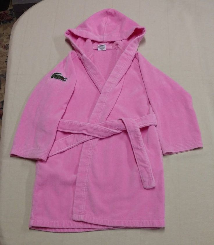Womens Ladies Lacoste Cotton Hood Pink Bath Robe One Size Pockets Tie Waist EUC #Lacoste #Robes #Everyday