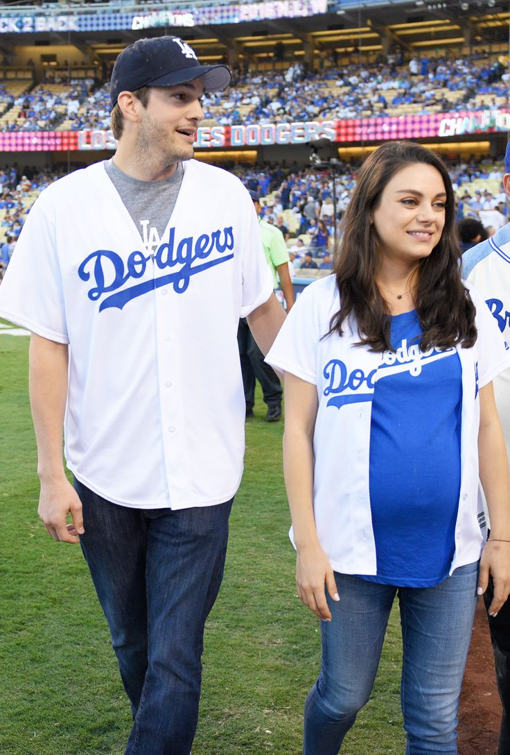 Mila Kunis and Ashton Kutcher Have the Cutest Date Night in Matching Dodgers Jerseys from InStyle.com