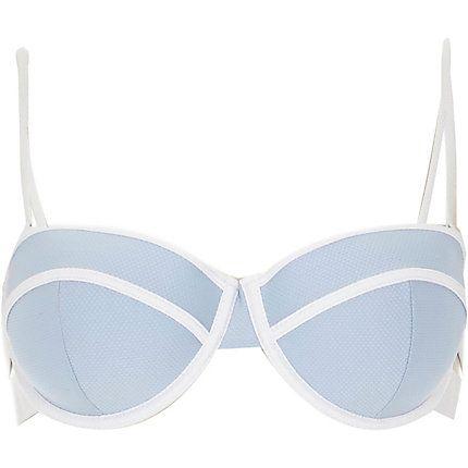 Light blue textured bustier bikini top $32.00