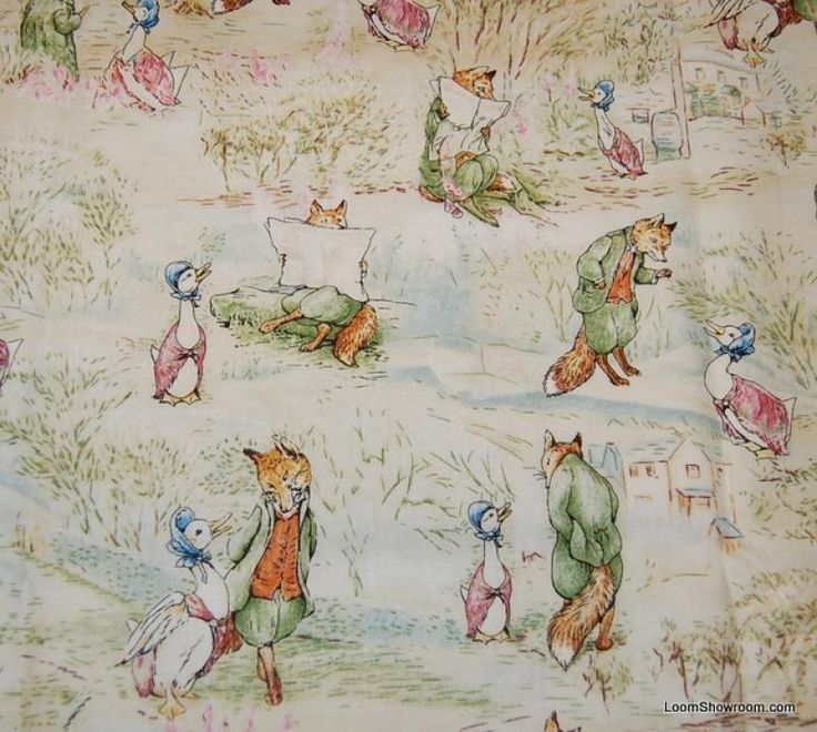 Shelf Fabric - Beatrix Potter Story Fox & Goose Peter Rabbit Jemima Puddle Duck Retro Childrens Book Cotton Fabric Quilt Fabric AC073
