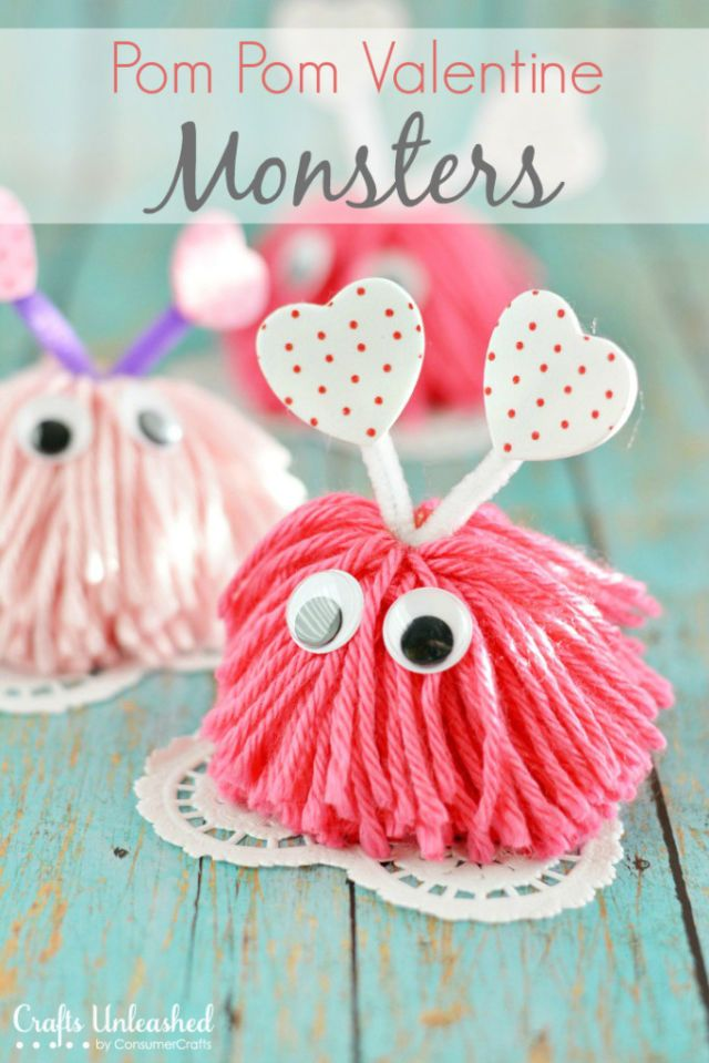 Craft these adorable little Pom Pom Valentine Monsters out of yard and then attach them to your cards for an extra-festive touch.