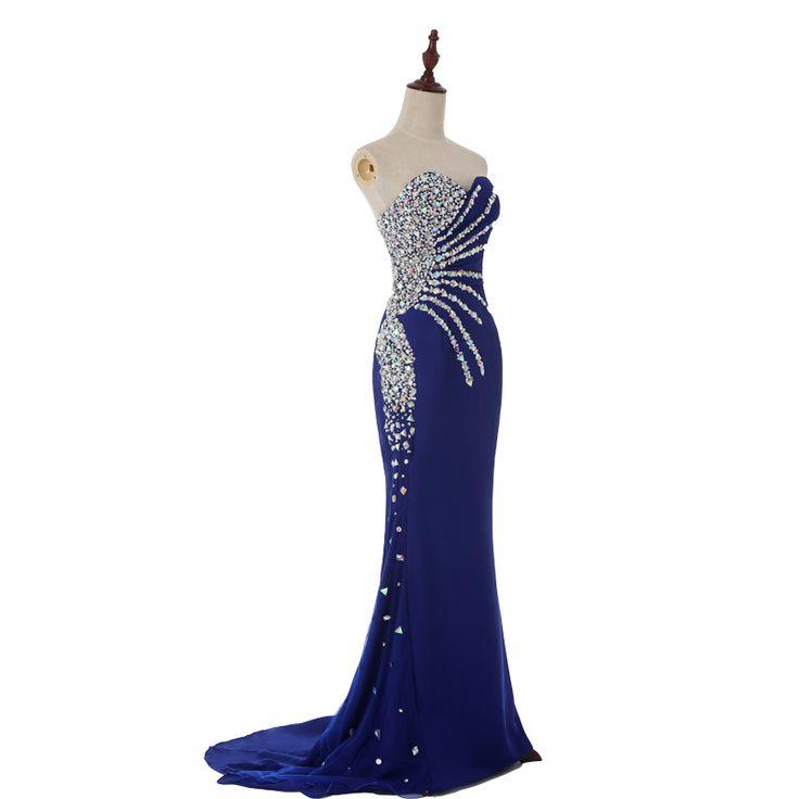 Abendkleid 2015 nouveau mode chérie de l'échantillon réel sirène Royal Blue Satin longue robe de soirée strass robes de bal dans Robes de soirée de Mariages et événements sur AliExpress.com   Alibaba Group