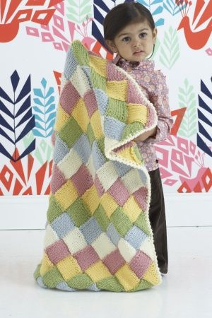 Tumbling Blocks Blankie - Comes in 2 sizes [ Free Knit Pattern ]