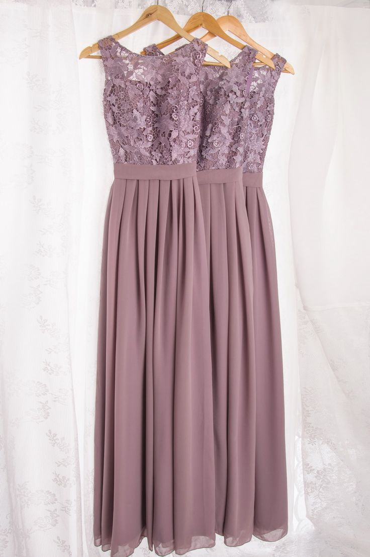 lavender lace and chiffon bridesmaid dresses in long length I think I would like these better shorter
