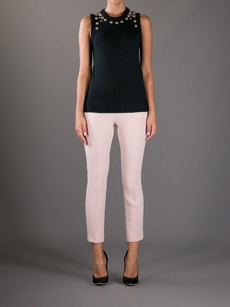 Black cotton-blend sleeveless top from Michael Michael Kors