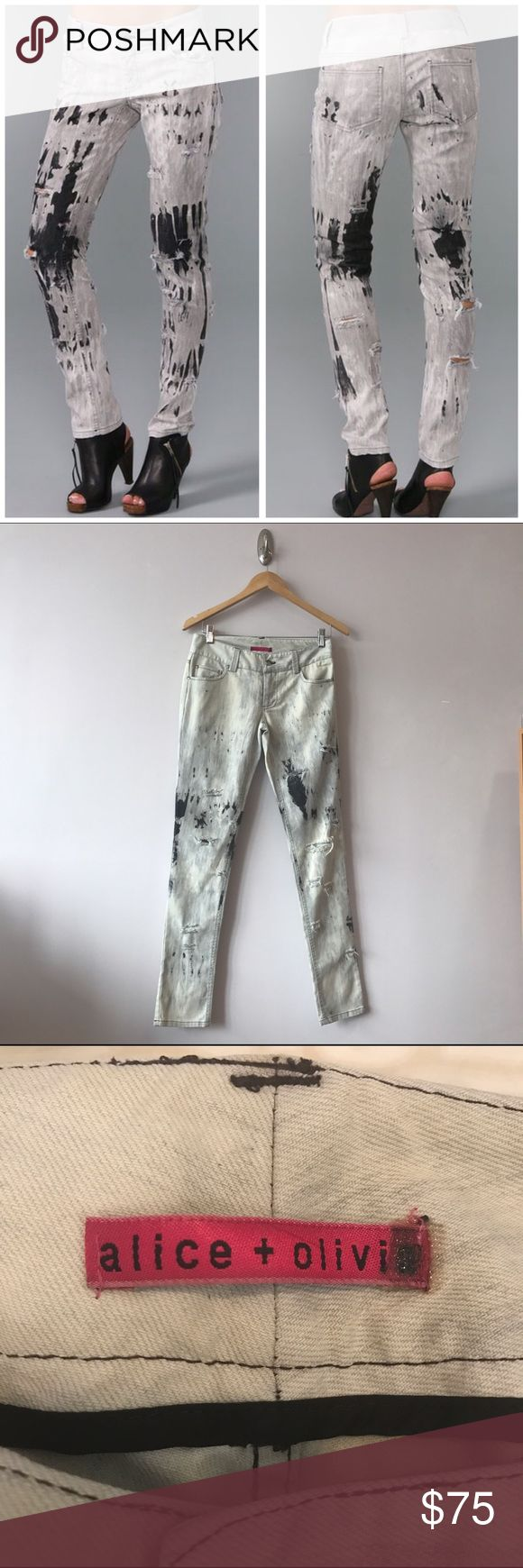 alice + olivia spatter ripped skinny jeans, size 0 alice + olivia bleached skinny jeans in lightweight denim, size 0. Like new - never worn! 5-pocket styling, a single-button closure, shredded holes at front & back w/ worn in look- edgy chic!😍 Only fault- plastic tag (w/ the number size that's small/placed to the right over the alice + olivia pink branded label) I think while in storage/closet? was folded with pressure on top and maybe got heated enough to melt I think? Strange I know lol…