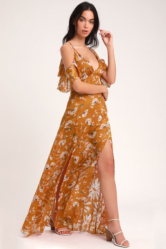 bf0d44b52f2 There is nothing finer than the Lulus Abundant Happiness Rust Orange Floral  Print Jacquard Maxi Dress! Lovely ruffled off-the-shoulder sleeves fall  from ...