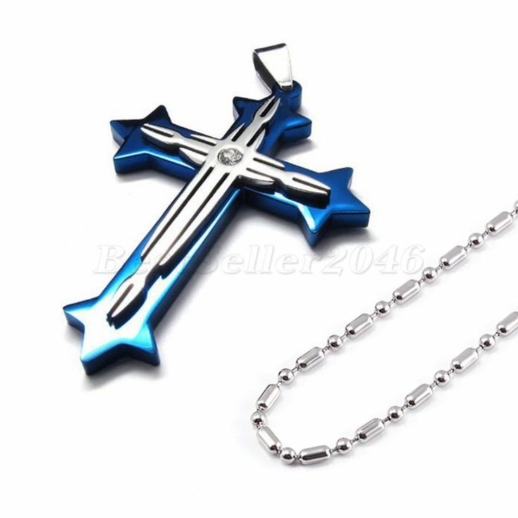 Damen Herren Kreuz Anhänger Halskette Kette Edelstahl Halsschmuck hochpoliert