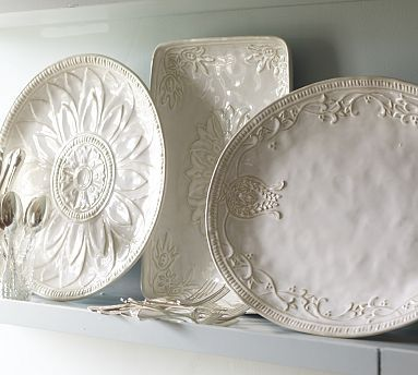 Juliette Oversized Serving Platters - I like the rectangle one to use above my kitchen cabinets