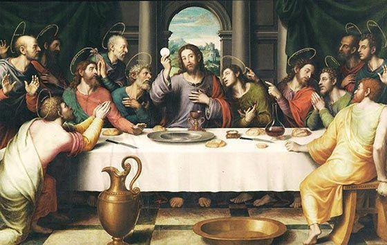 Pintura de Juan de Juanes en la que se representa la Ultima Cena de Jesús con los 12 Apóstoles