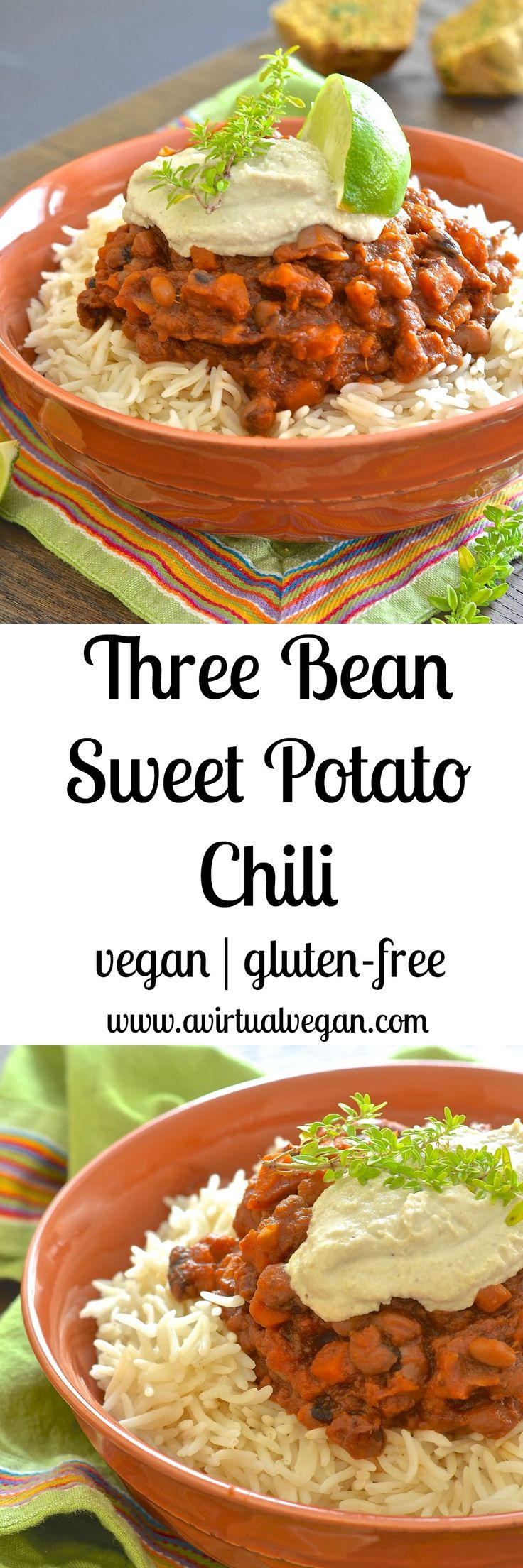 This Sweet Potato & Bean Chili makes the perfect family meal. Minimal effort, maximum flavour & budget friendly. Plus you'll have plenty of leftovers for another day! via @avirtualvegan