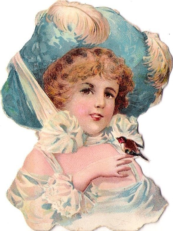 Oblaten Glanzbild scrap die cut chromo Kind child 10cm lady bird oiseau Federhut