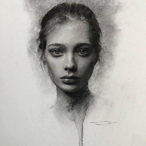 Рисунок углем портрет москвич кайроне