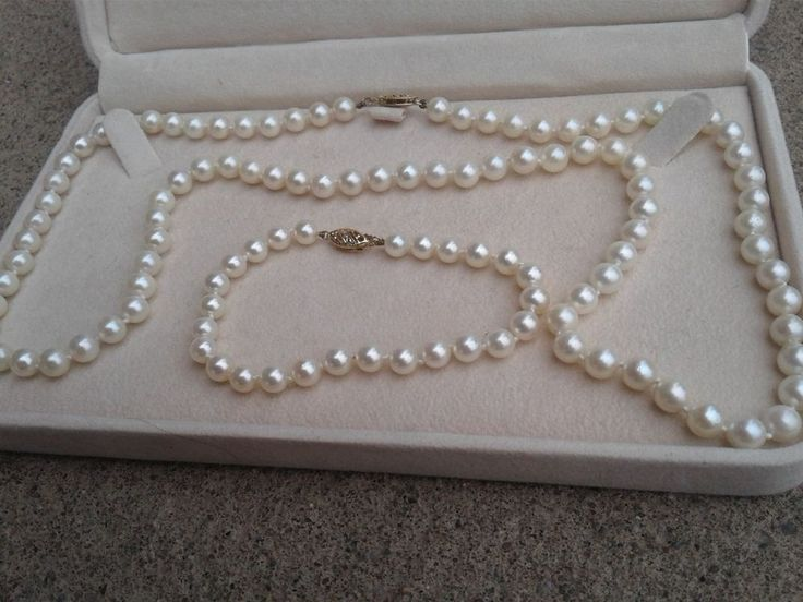 Mikimoto Blue Lagoon  Pearl 24 inch Long Necklace and Bracelet 14k GOLD Clasp  #Mikimoto #StrandString