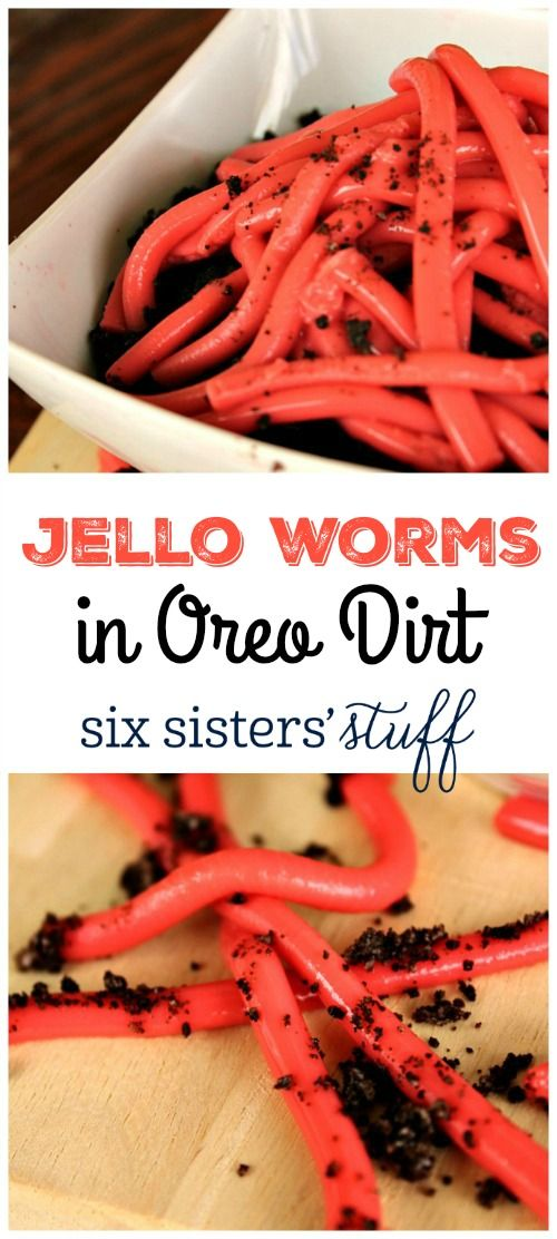Jellow Worms in Oreo Dirt recipe | A Fun dessert for kids parties.